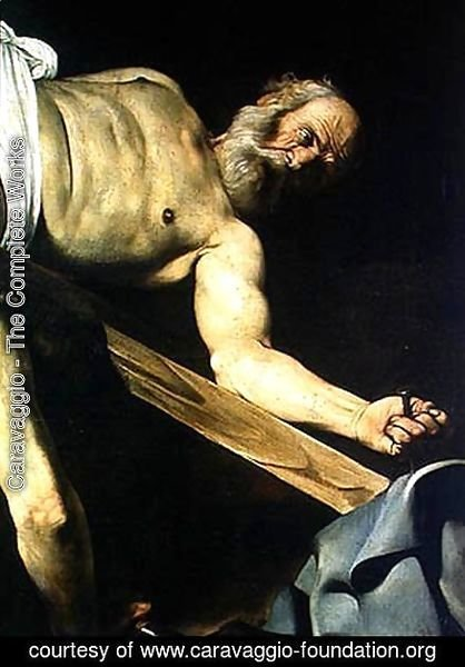 Caravaggio - The Crucifixion of St. Peter, detail of St. Peter, 1600-01