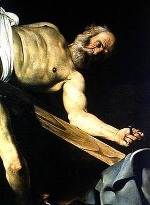 The Crucifixion of St. Peter, detail of St. Peter, 1600-01