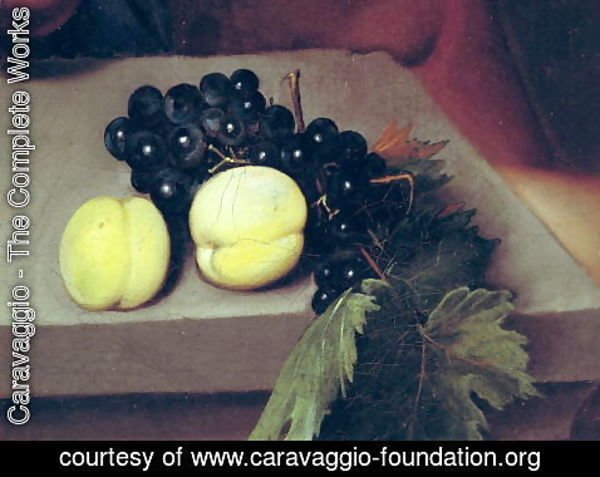 Caravaggio - The Sick Bacchus, detail of peaches and grapes, 1591