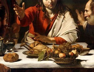 Caravaggio - The Supper at Emmaus, 1601 (detail-1)