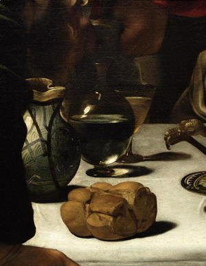 Caravaggio - The Supper at Emmaus, 1601 (detail-3)