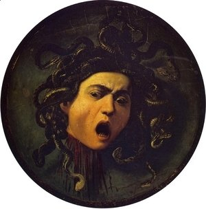 Caravaggio - Medusa, painted on a leather jousting shield, c.1596-98