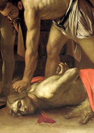 Caravaggio - The Decapitation of St. John the Baptist, 1608 (detail-3)