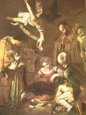 Caravaggio - Nativity with Saints Francis and Lawrence