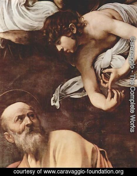 Caravaggio - The Inspiration Of Saint Matthew (detail)