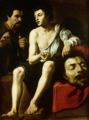 David and Goliath with a double-portrait of Caravaggio