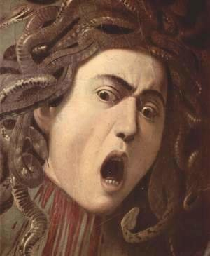 Caravaggio - The head of Medusa, Tondo, Detail