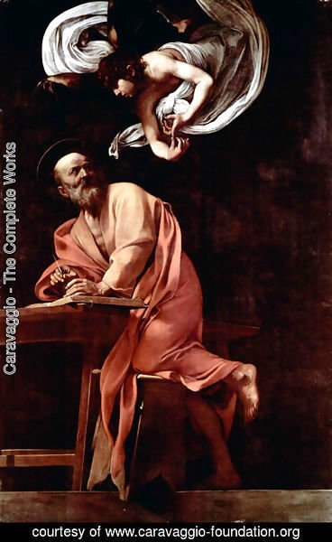 Caravaggio - Painting the Contarelli Chapel in San Luigi dei Francesi in Rome, Scene St. Matthew and the Angel