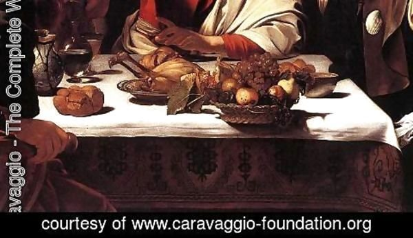 Caravaggio - Supper at Emmaus (detail 2) 1601-02